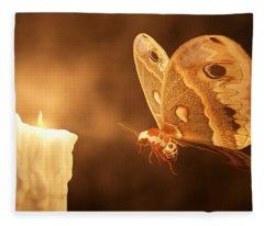 Like A Moth To A Flame Fleece Blanket
