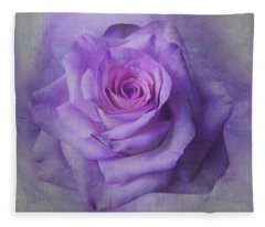 Lilac Purple Rose Fleece Blanket