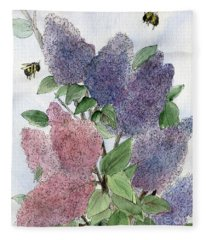 Lilacs And Bees Fleece Blanket