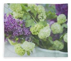 Lilacs And Snowballs Fleece Blanket