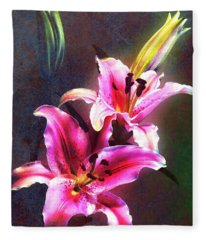 Lilies At Night Fleece Blanket