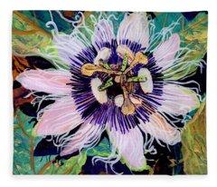 Passion Fruit Flower Fleece Blankets