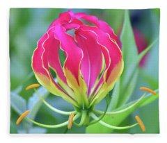 Lily In Flames Fleece Blanket