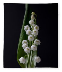 Lily Of The Valley On Black Fleece Blanket