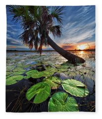 Lily Pads And Sunset Fleece Blanket