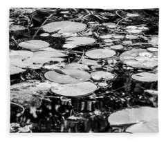 Lily Pads, Black And White Fleece Blanket