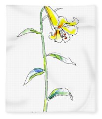 Lily Watercolor Painting 2 Fleece Blanket