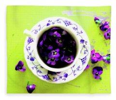 Lime Violet Tea Cup Fleece Blanket