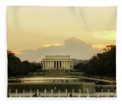 Lincoln Memorial Sunset Fleece Blanket