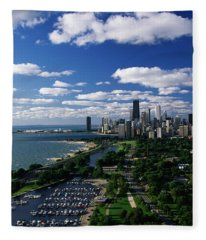 Lincoln Park And Diversey Harbor Fleece Blanket