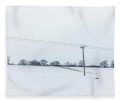 Line Across The Snow Fleece Blanket