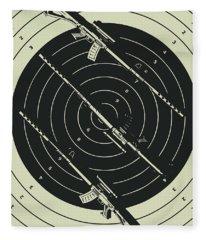 Line Art Rifle Range Fleece Blanket