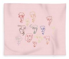 line faces I Fleece Blanket