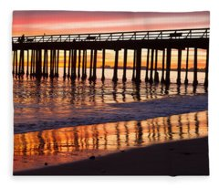 Sunset Seacliff Shadows Fleece Blanket
