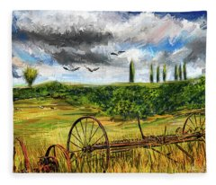 Lingering Memories Of The Past - Pastoral Artwork - Antique And Vintage Farm Equipment Fleece Blanket