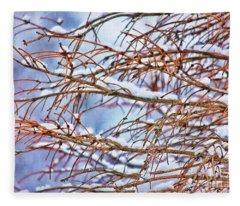 Lingering Winter Snow Fleece Blanket