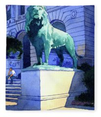 Lion At The Art Institue Of Chicago Fleece Blanket