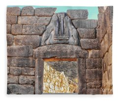 Lion Gate In Ancient Greek Ruins At Mycenae Fleece Blanket
