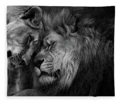 Lion In Love 2 Fleece Blanket