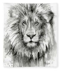 Lion Watercolor  Fleece Blanket