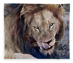 Lion With Tongue Fleece Blanket