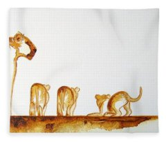 Lioness And Cubs Small - Original Artwork Fleece Blanket