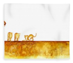 Lioness And Cubs - Original Artwork Fleece Blanket