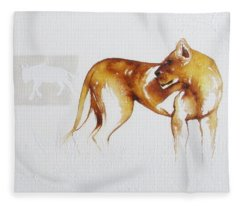 Lioness And Wildebeest Fleece Blanket