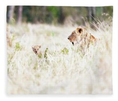 Lioness With Baby Cub In Grasslands Fleece Blanket