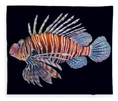 Lionfish In Black Fleece Blanket