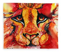 Lion's Head  Red Fleece Blanket