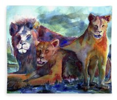 Lion's Play Fleece Blanket
