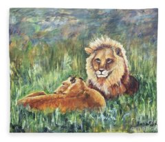 Lions Resting Fleece Blanket