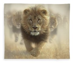 Lions Running - Eat My Dust Fleece Blanket