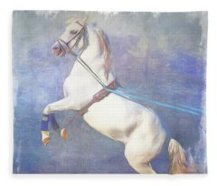 Lipizzaner Stallion Square Fleece Blanket