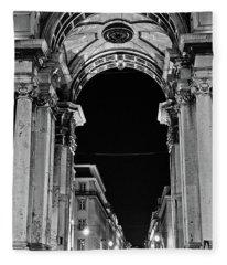 Lisbon - Portugal - Triumphal Arch - Rua Augusta Fleece Blanket