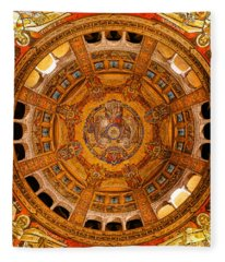 Lisieux St Therese Basilica Dome Ceiling Fleece Blanket