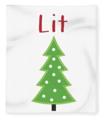 Lit Christmas Tree- Art By Linda Woods Fleece Blanket