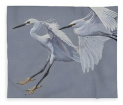 Little Egrets In Flight Fleece Blanket