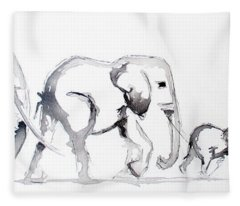Little Elephant Family Fleece Blanket