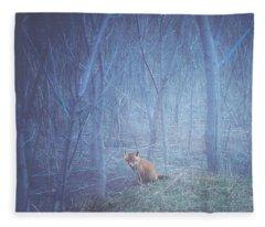 Little Fox In The Woods Fleece Blanket