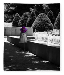 Little Girl In Magenta Hat Black And White Selective Color Fleece Blanket