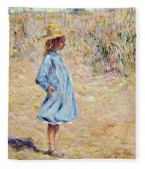 Little Girl With Blue Dress Fleece Blanket