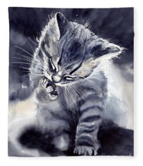 Little Grey Cat Fleece Blanket