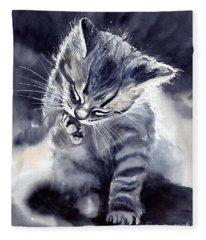 Little Grey Cat Fleece Blanket
