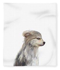 Little Grey Wolf Fleece Blanket