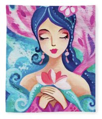 Little Quan Yin Mermaid Fleece Blanket