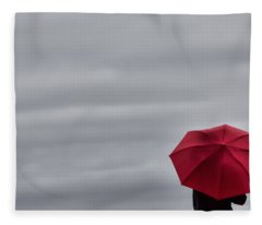 Little Red Umbrella In A Big Universe Fleece Blanket