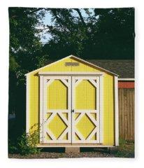 Little Yellow Barn- By Linda Woods Fleece Blanket