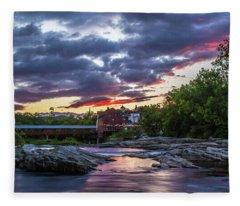 Littleton Sunset On The Rocks Fleece Blanket